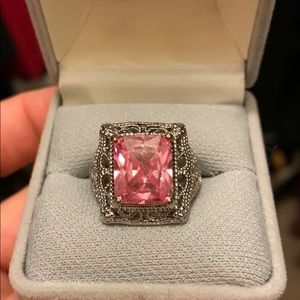 Lab create pink tourmaline in silver setting